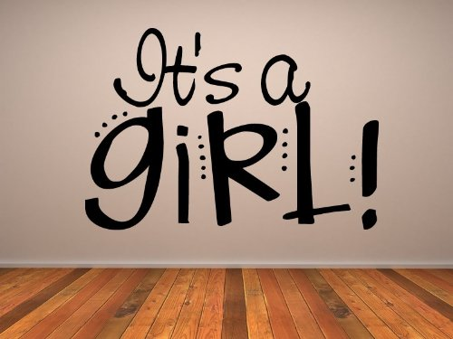 It'S A Girl Wall Stickers New Baby Bedroom Wall Art Decal 01 - Vinyl Sticker Wall Art Deco Decal - 50Cm Height,50Cm Width - Black Vinyl