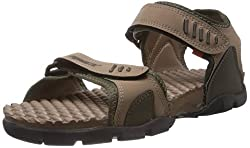 Sparx Mens Olive and Camel Brown Synthetic Sandals and Floaters - 6 UK
