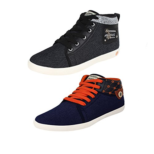 Earton-COMBO-Pack-of-2-Pair-MenBoys-Black-Blue-Casual-Shoes-Sneakers-Shoes