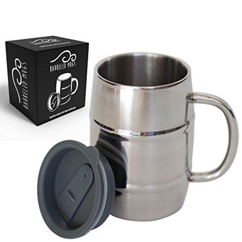 Stainless Steel Beer Mug w/ Bonus Lid, 17oz Dual Wall Air Insulated Beer & Beverage Mug / Coffee Cup - Keep Your Beer Colder & Coffee Hotter Longer - A Mans Mug (Valentine Beer Mug compare prices)
