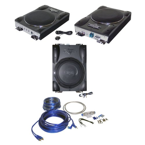 Lanzar Car Amplified Subwoofer With Amplifier Installation Kit Package - Vctbs8 Vector 8'' Ultra Slim 600 Watt High Power Amplified Subwoofer Enclosure - Ampkit8 Contaq 1200 Watt 8 Gauge Power Amp Kit