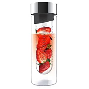 Asobu Flavor It: 20-Oz Luxury Glass Water Bottle + Fruit Infuser: Flavor Your Water With Your Favorite Fruits, Veggies and More; BPA Free, Tempered Glass Construction; Lifetime Guarantee Smoke/Silver