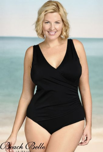 Beach Belle Black Plus Size Surplice One Piece Swimsuit - Plus Size Swimwear Plus Size Swimsuits