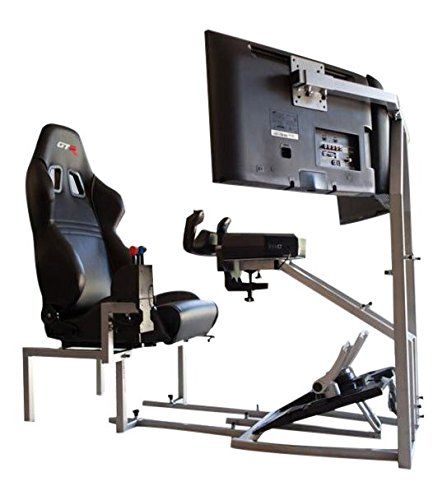 GTR Flight Simulator Seat - CRJ Model with Adjustable Leatherette Seat, Flight Simulation Cockpit with Dual Control Mount and Triple or Single Monitor Stand