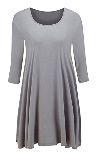 Taydey Womens Basic Tunic Top Mini T-shirt Dress (PLUS Size Available) Gray-3XL