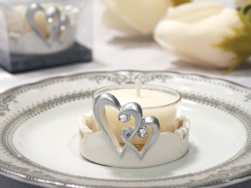 Two Hearts Linked Together As One Candle Holder (Set of 24) - Wedding Favors