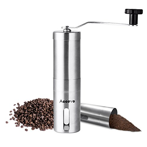 Manual Coffee Grinder, Accevo Hand Coffee Grinder & Coffee Press, Perfect Coffee Grinder for French Press, Espresso or as a Spice Grinder or Herb Grinder