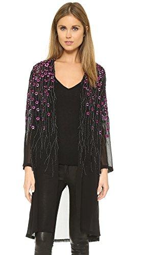 Haute Hippie Women's Floral Threadwork Kimono, Black, X-Small