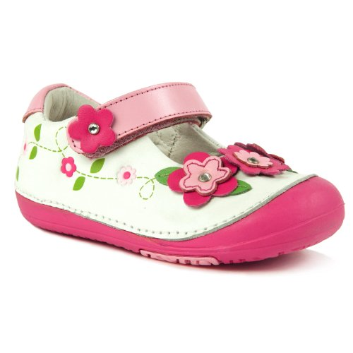 Momo Baby First Walker/Toddler Floral Sparkle White Mary Jane Leather Shoes - 6 M Us Toddler front-901902