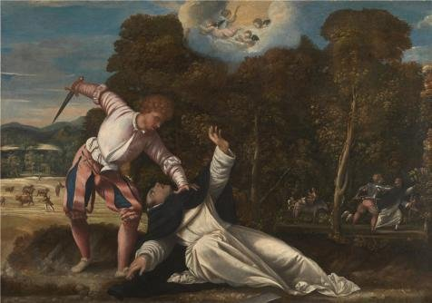 The Perfect Effect Canvas Of Oil Painting 'Bernardino Da Asola - The Death Of Saint Peter Martyr,1540s' ,size: 16x23 Inch / 41x58 Cm ,this Imitations Art DecorativeCanvas Prints Is Fit For Hallway Gallery Art And Home Decoration And Gifts