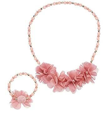 Monsoon Filles Parure composée d'un collier et d'un bracelet en perles ornés de fleurs Pompon Taille Taille unique Rose