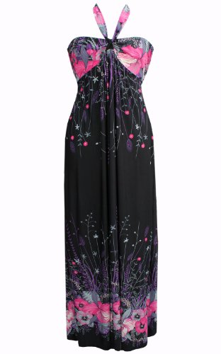 Black Butterfly Long And Pink Floral Hippie Boho Evening Maxi Dress