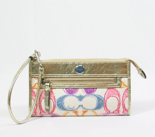 Coach Poppy Signature Dream C Zippy Clutch Wallet Wristlet Bag 47077 Multi