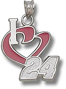 LogoArt Jeff Gordon Sterling Silver Enamel I Heart Pendant - Jeff Gordon One Size by Logo Art