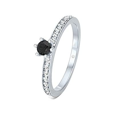 21DIAMONDS Women's Venus Black Round Brilliant Cut Diamond Engagement Ring - Silver Engagement Ring