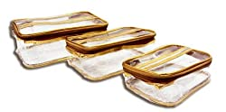 PrettyKrafts Vanity Box - Transparent Multipurpose Makeup Cosmetics Bag - Golden Rectangular Plain Organizer - Set of 3