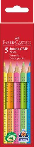 faber-castell-110994-matite-colorate-jumbo-grip-neon-astuccio-da-5-pezzi