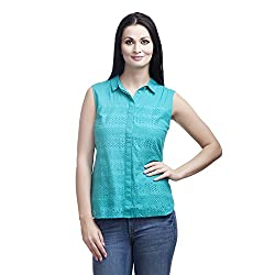 MansiCollections Women's Solid Casual Green Shirt (44)