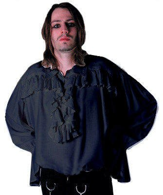 Black - Men's New Romantic Victorian Ruffle Shirt Gothic LARP Shirt Whitby Festival - Size L-XL