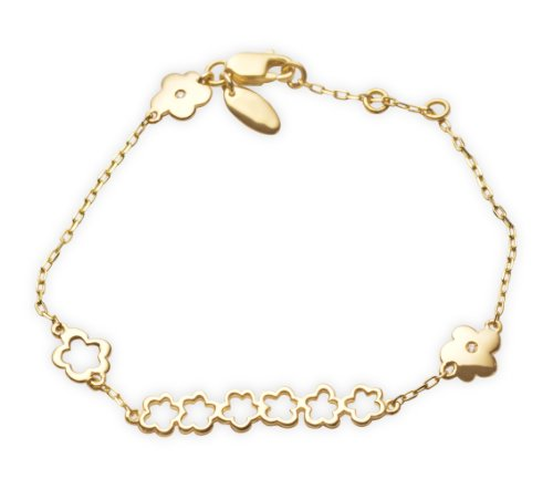 Miore 9ct Yellow Gold Childrens' Bracelet Flowers Set with 2 Diamonds 13cm + 2cm Extender AG0138