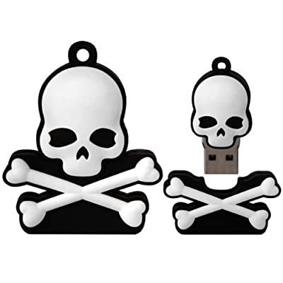 8 GB Novelty XYLO-FLASH Skull & Crossbones Keyring USB 2.0 Memory Stick / Pen Storage Drive Compatible With PC / Mac. from XYLO ACCESSORIES