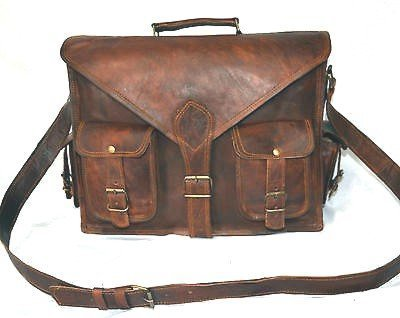 Handmadecraft ABB 18 Inch Vintage Handmade Leather Messenger Bag for Laptop Briefcase Satchel Bag 1