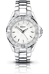 Seksy Wrist Wear by Sekonda Women's Quartz Watch with Mother of Pearl Dial Analogue Display and Silver Stainless Steel Bracelet 4522.37