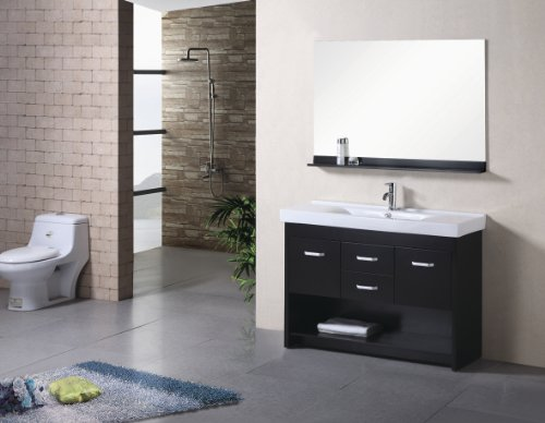 "Design Element Dec074S Citrus 48"" Free Standing Vanity Set With Cabinet, Single Basin Top With Integrat, Espresso front-619701"