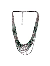 Antique Silver Green Necklace Tribal Handmade Necklace Fashion Jewelry