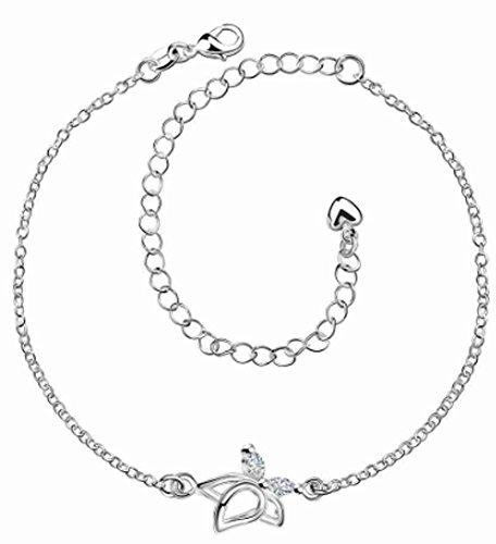 SaySure - Silver plated bracelet anklets Flower in full bloom