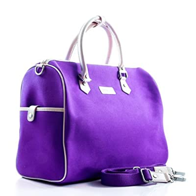 Premium Purple Canvas Troop London Women's Weekend Travel Overnight Bag With Detachable Shoulder Strap 342PURPLE