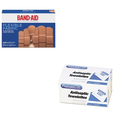 KITACM51028JOJ4444 - Value Kit - Band-aid Flexible Fabric Adhesive Bandages (JOJ4444) and Physicianscare First Aid Antiseptic Towelettes (ACM51028) kitcox70427sfc023803 value kit naturehouse fresh nap moist towelettes sfc023803 and glad forceflex tall kitchen drawstring bags cox70427