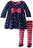 Gerber Baby-Girls Newborn 2 Piece Micro Fleece Dress with Tights, Blue Dot, 12 Months