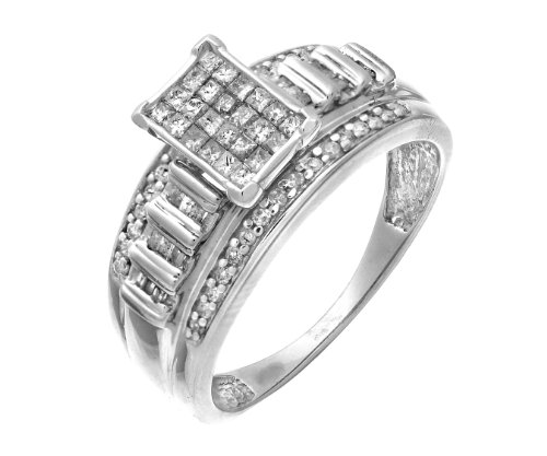 Stylish 925 Sterling Silver Ladies Cluster Diamond Ring Princess Cut 0.50 Carat Size M