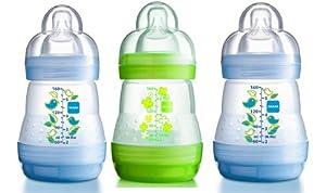 MAM Self-Sterilising Anti-Colic 160 ml Bottles 3-Pack (2 x Blue, 1 x Green)