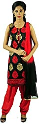 Aarshi Women's Chanderi Stitched Salwar Suit (KMD/DS/001/1033_L, Black & Red, L)
