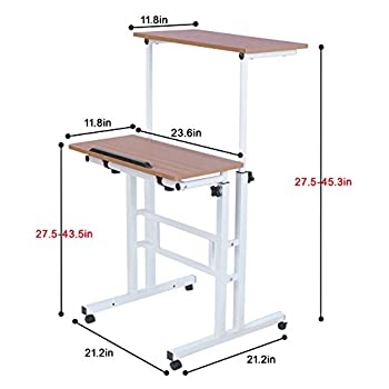 Sdadi Adjustable Height Mobile Stand Up Desk Computer Workstation With Standing&Seating 2 Modes (Dark Grain)