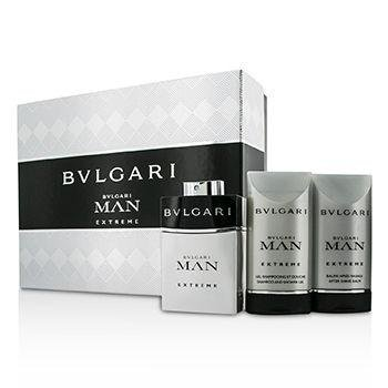 Bulgari man extreme edt 60 ml + Balsamo dopobarba 75 ml + Bagnoschiuma 75 ml di Bulgari, Uomo - Cofanetto