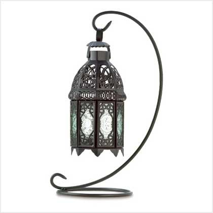Gifts & Decor Moroccan Tabletop Lantern Ornate Metal Candle Holder