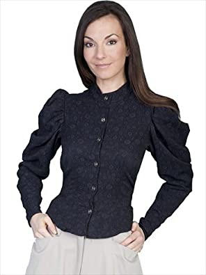 Scully Classic 1880s Style Blouse with Large Shirred Shoulder Sleeves - Black  AT vintagedancer.com