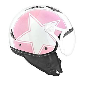 CASQUE JET TNT HELIOS STAR ROSE/BLANC BRILLANT L SB13B