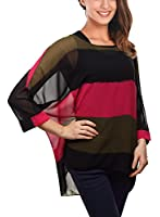 Djt - Striped Batwing T-shirt Pull-over Manches longues Femme