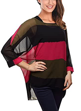 DJT- Striped Batwing T-shirt Pull-over Manches 3/4 Femme Taille S EU34
