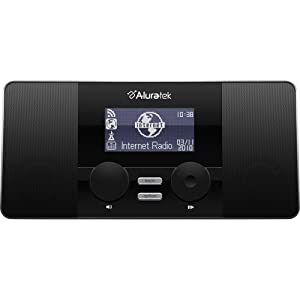 aluratek airmm02f wifi internet radio alarm clock with remote black electronics. Black Bedroom Furniture Sets. Home Design Ideas