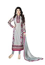 VH FASHION Grey Embroidery Floral Printed Georgette Salwar Suit Material