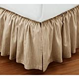 Super Soft Stripe Beige Queen Size Ruffle Bed Skirt 100% Cotton