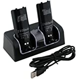 Dual Twin Charger Dock for Nintendo Wii Remote Controller (Pack of 2 Batteries)