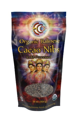 Earth Circle Organics - Raw, Organic, Kosher - 100% Raw Balinese Cacao Nibs, 16 Oz Bag