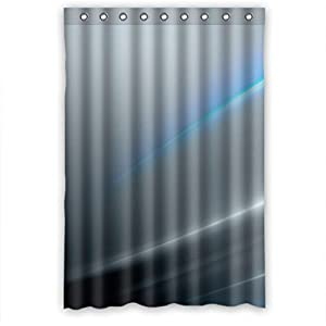 MOMO Silver Snd Blue Stripes Shower Curtain Measures 48 W
