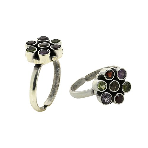 Indian Jewelry Gemstone Multi Silver Toe Rings For Women Adjustable